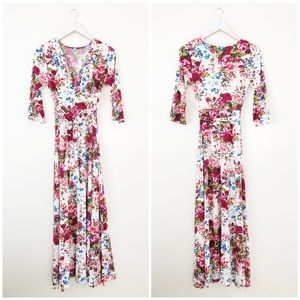 PinkBlush Ivory Floral Draped 3/4 Sleeve Maxi